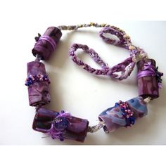Lilac Purple Handmade Fibre beaded necklace unique blue fibre beaded... (€11) ❤ liked on Polyvore featuring jewelry, necklaces, beaded jewelry, purple bead necklace, beading necklaces, purple necklace and beading jewelry