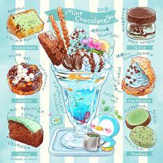 Cute Food Drawings, Cute Kawaii Drawings, Arte Do Kawaii, Kawaii Art, Chocolate Sweets, Mint Chocolate, Pokemon, Dessert Illustration, Chibi Food