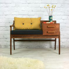 Mustard Vintage // Chippy Heath Vintage Teak 1960s Telephone Seat. Any vintage teak furniture will do...