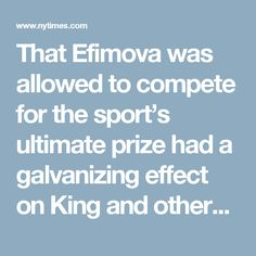 That Efimova was allowed to compete for the sport's ultimate prize had a galvanizing effect on King and others frustrated by FINA's lack of resolve to ensure a level playing field.  Julio C. Maglione of Uruguay, the president of FINA, traveled last month to Moscow to meet with Russia's minister of sport in a show of support. Shortly thereafter, as antidoping officials were preparing to request that the I.O.C. ban Russia's entire Olympic team, FINA released a statement saying it was…