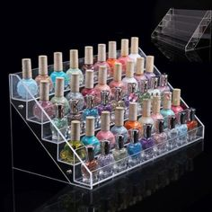 This is a professional acrylic makeup display manufacturer custom design high quality fashion design acrylic nail polish display holder with reasonable price, welcome to contact with us! Nail Polish Stand, Nail Polish Storage, Nail Polish Bottles, Makeup Storage Rack, Makeup Organization, Makeup Display, Cosmetic Display, Clear Acrylic Makeup Organizer, Cosmetics Display Stand
