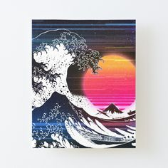 Great Wave Glitch by ind3finite | Redbubble Retro Aesthetic, Vaporwave, Glitch, Wall Prints, Photo Wall Art, Wall Decor, Artwork, Poster, Inspiration