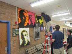 Art Display for School Hallways.... useful when I'm not allowed to use tape