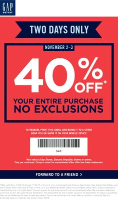 Pinned November 2nd: Extra 40% off this weekend at #Gap Outlet locations #coupon via The Coupons App