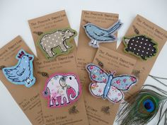 appliqued brooches