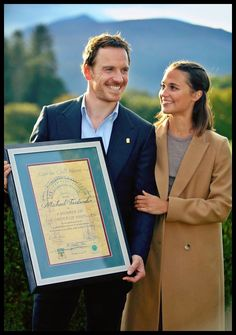 Michael Fassbender and Alicia Vikander in Killarney, Ireland, where Michael is being inducted into the Order of Innisfallen.