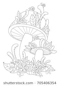Anti-stress doodle coloring book page forest mushrooms with flowers and snails. For adults and children Doodle Coloring, Colouring Pics, Free Adult Coloring Pages, Coloring Book Pages, Flowers Hummingbirds Like, Flower Art Drawing, Wood Burning Stencils, Forest Drawing, Hummingbird Art