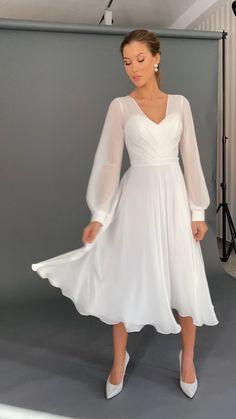 Civil Wedding Dresses, Evening Dresses For Weddings, Dream Wedding Dresses, Bridal Dresses, Bridesmaid Dresses, Prom Dresses, Wedding Robe, Tea Length Wedding Dress, Elegant White Dress