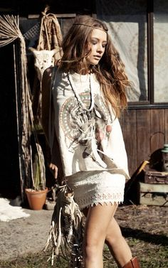 Style:  Lace skirt cut off tribal t-shirt or tank, boots and a fringe purse  #bohemian ☮k☮ #boho