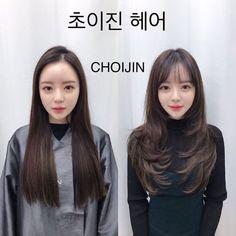 • hair만으로도 다른사람이~? 헤어스타일 전/후 : 네이버 블로그 Korean Haircut Long, Korean Long Hair, Medium Straight Haircut, Medium Hair Cuts, Long Hair Cuts, Medium Hair Styles, Curly Hair Styles, Long Layered Haircuts, Haircuts For Long Hair
