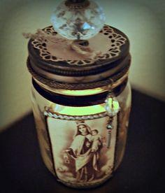 Rustic Mason Jar Vintage Holy Card Virgin Mary