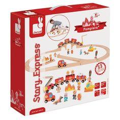 Cena: 295.00zł. Eksresowa wysyłka od ręki. KOLEJKA DREWNIANA ZESTAW 52 CZĘŚCI- STRAŻ POŻARNA... więcej na  www.Tublu.pl #tublu #tublu_pl #zabawka #zabawki #dla #dzieci #toy #for #kid #story #express #janod #fireman #straż #pożarna #kolejka Firefighter Training, Wooden Train, Train Set, Fire Engine, Toy Chest, Engineering, Vogue, Toys, Children