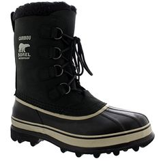 Mens Sorel Caribou Mid Calf Snow Winter Rain Warm Fur Lined Suede Boot - Black/Cream - 13 ** Check out this great product.