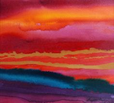 'Red Sky At Night' ©Suzette Fram  -  Acrylic Inks poured onto damp watercolour paper