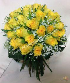 Ramo de novia tipo bouquet de rosas amarillas