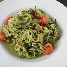 """Diane Elmore's Personal Chef Service   """"Zoodles"""" with pesto and fresh garden tomatoes"""
