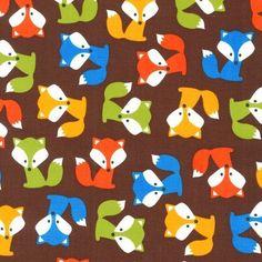 Ann Kelle Foxes in Brown de DinoFabric por DaWanda.com