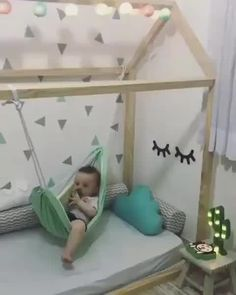 Baby Hammock Kids Hammock Playroom Kids Room Toddler Bed Diy Projects Backyard Diy For Kids Crafts Baby Bedroom, Baby Boy Rooms, Girls Bedroom, Kid Rooms, Toddler Floor Bed, Baby Floor Bed, Kids Bedroom Ideas For Girls Toddler, Toddler House Bed, House Beds For Kids