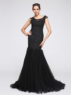 TS Couture® Formal Evening Dress Fit & Flare Scoop Court Train Tulle with…