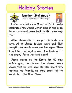 This Reading Comprehension Worksheet - Easter (Religious) is for teaching reading comprehension. Use this reading comprehension story to teach reading comprehension.