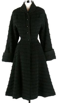 Coat, Sally Milgrim: 1940's, black cashmere, tiny fringe details, silk lining.