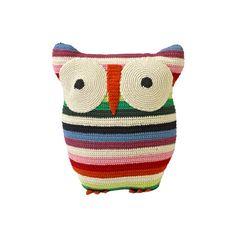 Anne-Claire Petit - Crochet Owl Cushion - 30x25cm - Mix Stripe