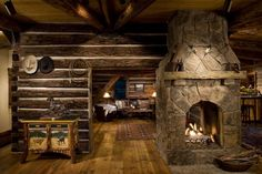 Old lodge look log home, Livingston, Montana.  Custom furniture by Russell & Rusty Viers, Livingston, Montana