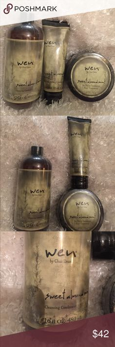 3 Pc WEN Hair Products 3 Pc Wen Style Products New Sweet Almond Mint Re Moist Intensive Hair Treatment 4oz Anti Frizz Styling Cream 4oz Cleaning Conditioner 16oz  All factory Sealed Fresh   Please see photos for additional details. Thanks and Kind Regards  Have a Great Day And Happy Shopping :) Wen Other
