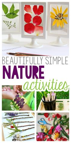 Nature Crafts Beautifully Simple Nature Activities for kids! Crafts and art using natural items from your backyard or park, to try out this summer! Nature Activities, Outdoor Activities For Kids, Spring Activities, Science Activities, Children Activities, Outdoor Games, Outdoor Play, Flower Activities For Kids, Nature Based Preschool