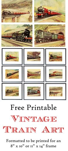 """Free Printable Vintage Train Art.  Formatted to be printed for an 8"""" x 10"""" or 11"""" x 14"""" frame.  www.simplymadebyrebecca.com"""