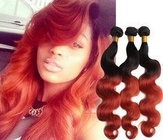 """3PCS Brazilian Ombre Hair Extensions1b/350# Human Hair Weave Body Wave 10""""-30"""" #wigiss #HairExtension"""