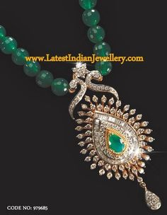 Emerald Beads String with Diamond Pendant Antique Jewellery Designs, Gold Earrings Designs, Gold Jewellery Design, Beaded Jewelry Designs, Jewelry Trends, Pendant Set, Diamond Pendant, Emerald Jewelry, Diamond Jewellery