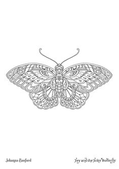 Ivy and the Inky Butterfly - Johanna Basford Insect Coloring Pages, Blank Coloring Pages, Butterfly Coloring Page, Adult Coloring Book Pages, Coloring Books, Kids Coloring, Coloring Sheets, Butterfly Black And White, Johanna Basford Coloring Book