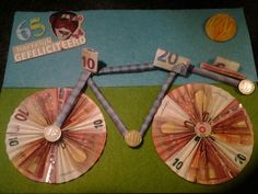 Fiets voor 65 jarige Folding Money, Triangle, Wraps, Clock, Birthday, Gifts, Wrapping Ideas, Google Search, Birds