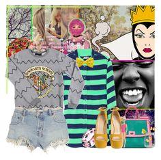 """I'mma ruin you c*nt"" by karai ❤ liked on Polyvore featuring Magdalena, Equipment, Lauren Ralph Lauren, Dolce&Gabbana, Giuseppe Zanotti, Ksubi, stripes, suede pumps, denim shorts and neon"