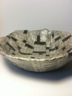 Crossword Time Dish  upcycled newspaper dish --- OneStepDifference