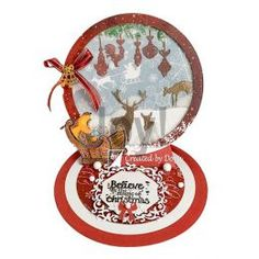 knippen en plakken: Believe in the magic of Christmas Winter Christmas, Christmas 2019, Believe In Magic, Marianne Design, Sled, I Card, Snow Globes, Stencil, Decorative Plates