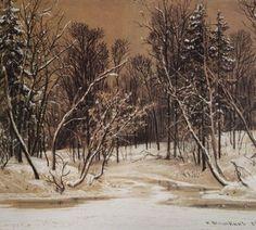 Лес зимой, Шишкин, 1884
