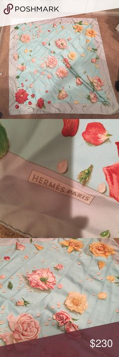 """HERMES WOMENS 36"""" by 36"""" inch silk scarf Never worn Hermes scarfs. Light green border, blue inside with beautiful flowers. Never worn, another item found in the closet. TAG READS: made in France, 100% silk. Hermes Accessories Scarves & Wraps"""