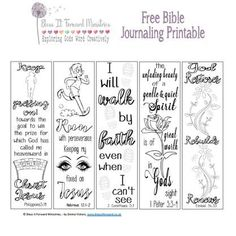 Bless It Forward Ministries - Free Printables Bible Journaling For Beginners, Art Journaling, Journal Art, Prayer Journal Printable, Scripture Journal, Bible Bookmark, Bookmarks, Bibel Journal, Bible Doodling