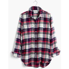 MADEWELL Flannel Classic Ex-Boyfriend Shirt in Drayton Plaid ($60) ❤ liked on Polyvore featuring tops, shirts, flame red, plaid shirts, red top, red flannel shirt, red shirt and flannel button-down shirts