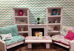 NEW 2 tall shelf 1 fireplace unit 2 chairs by QueenEmmaDesigns, $149.00
