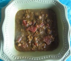 Healthy Diet Habits Refrigerator Crockpot Soup using Lentils and Blended vegetables