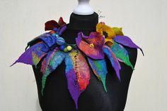 Beautiful necklace collar scarf nuno felt by AleksandrabWiniarska, $54.00
