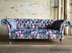 Botanical Fl Velvet Chesterfield Sofa Exclusive Printed Abode Sofas