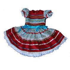 Vestido para festa junina em algodão, ótimo padrão de qualidade. Várias cores e modelos. Para festas caipira e de São João. Pronta entrega - TAMANHO  4 R$ 99,90