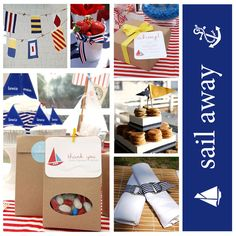 """Sail Away - Nautical wedding idea.  Just a few ideas if we decide on """"Themed"""" tables, giving them an eclectic tables that have their own   """"theme within the overarching theme"""".  For example, one table could showcase Lake Tahoe, one Florida (i.e. the beach, one showing memories from Oklahoma, just throwing it all out there and I'll sift through it and organize later."""