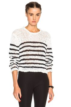 Image 1 of T by Alexander Wang Cropped Sweater in Ivory & Black