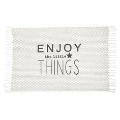 Enjoy - Tappeto bianco in cotone a frange 60 x 90 cm