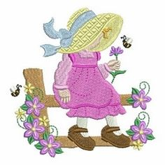 Spring Sunbonnet Sue 6 - 4x4 | What's New | Machine Embroidery Designs | SWAKembroidery.com Ace Points Embroidery